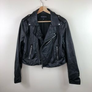 Who what wear black faux leather moto jacket large